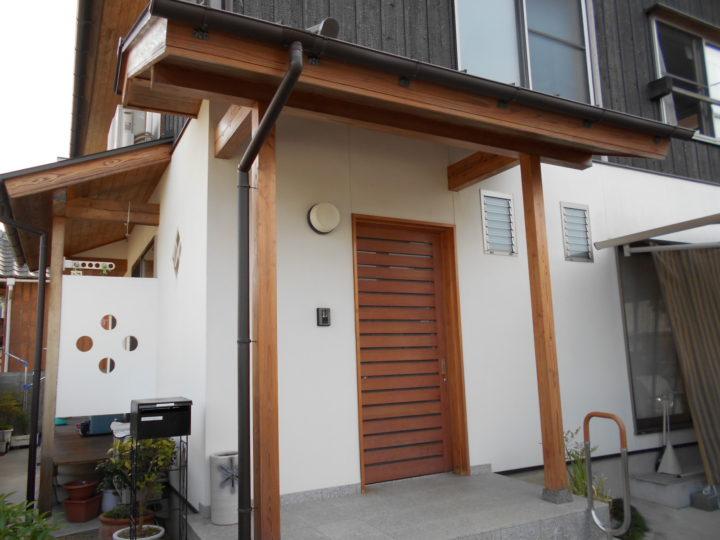 岡山市北区 K様邸 玄関周り木部漂白保護