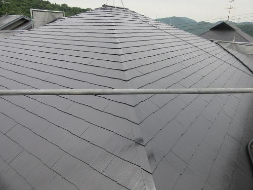 塗り替えリフォーム後の岡山市東区O様邸の屋根の写真