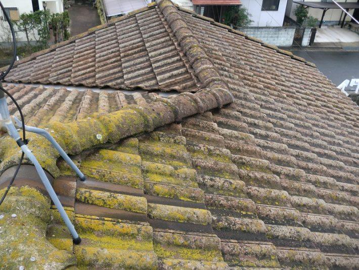 岡山市東区T様邸の現場調査時の屋根の状態