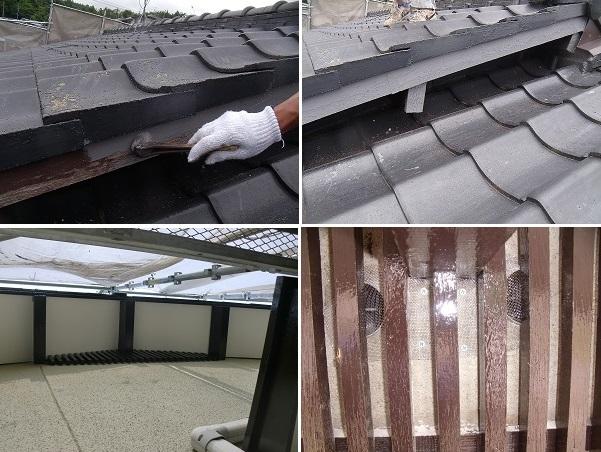 倉敷市N様邸の破風などの施工工程の写真