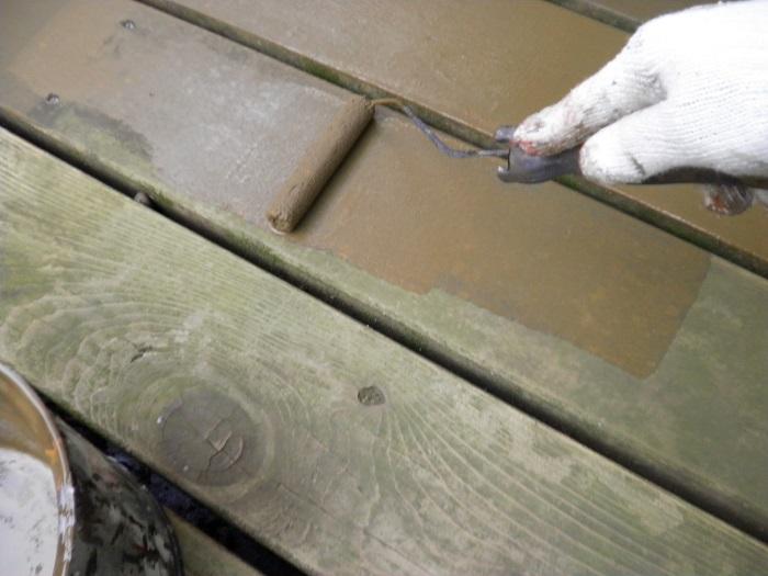 岡山市中区K様邸ウッドデッキ木部塗装の状況
